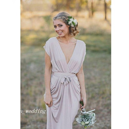 Wholesale French Gowns - 2017 Cheap French Country Grey Boho Long Bridesmaid Dress Modest Formal Maid of Honor Gown Plus Size Custom Made