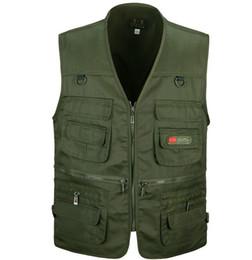 Wholesale Short Gilet - Wholesale- Spring and autumn male vest casual multi-pocket quinquagenarian 100% cotton mesh vest waistcoat gilet workwear