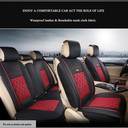Wholesale Universal Leather Car Seat Covers - Universal Car Interior Seat Covers Waterproof PU Leather Front +Rear Cushion Mess Fabric Seat Cover 5-Seats