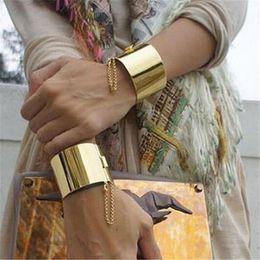 Vergoldete metallmanschettenarmbänder online-18 Karat Vergoldet Silber Personalisierte Breite Punk Metall Armreif Mädchen Modeschmuck Vintage Manschette Armbänder für Frauen Armreifen