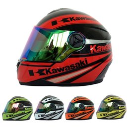 Wholesale motorbike full face helmets - Kawasaki Motorcycle Full Face Helmet Men women Racing Helmets Motorbike Capacete Motos Casco 4 Colors DOT Approved