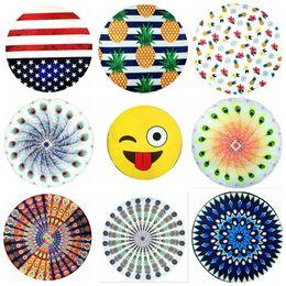 tapiz americano Rebajas Ronda Mandala Toalla de playa 44 Estilos Bandera Americana Piña Emoji Mandala Tapices Boho gasa Wraps Bikini Cover Up OOA1597