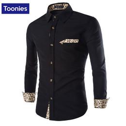Wholesale Fits Banquet - Wholesale- Autumn Spring New Men's Shirt Leopard Patchwork Mens Long Sleeve Dress Shirt Male Brand Slim Fit Social Shirts Tops for Banquet