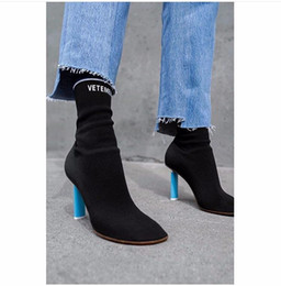 Wholesale Medium Jersey - New Stretch Sock Knit Boots Women Jersey Ankle Boots High Heels Ladies Thight Slim Boots New Brand Designer Prom Party Shoes