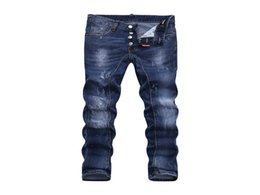 Wholesale Xs Micro - D-2017 Desinger Skinny Button Fly Jeans European Top MEN Micro-elastic Denim Desinger D1885-7411 Slim Fit Shabby Holes Badge MENS Jeans