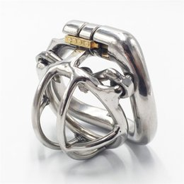 Wholesale stainless steel chastity belt shortest - Male chastity devices 35mm length stainless steel small chastity cage spiked short cock cage applied hinged curve base ring