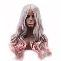 Wholesale wig long grey - Gradient color two tone heat-resistant long wavy wig ombre grey gray pink wigs synthetic hair for women WoodFestival
