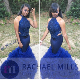 Wholesale Dress Celebrity Open Back - 2017 Black Girl Royal Blue Prom Evening Dresses Mermaid High Neck Open Back Tiered Skirts Long Formal Celebrity Gowns Dress for Party