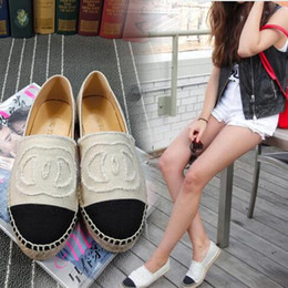 Wholesale Lambskin Leather Shoes - Famous Brand Women Espadrilles Top Quality Brand 2017 Real Lambskin Women Flat Shoes Comfortable casual loafers Size EUR35-42 with Box