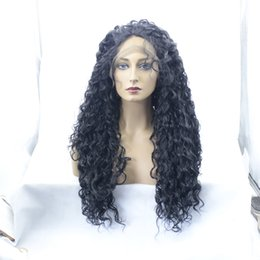 Wholesale African Black Baby - long natural kinky curly free part synthetic glueless hair wig baby hair for african americans heat resistant