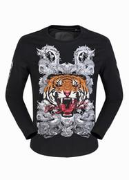 Wholesale Dragon Skull T Shirts - Mens Long Sleeve Tiger & Dragon 3D Printed Designer Shirts Luxury Polo T shirt Slim Sweater Tee Shirt PLEIN-PHILIPP Boys Sports Jacket