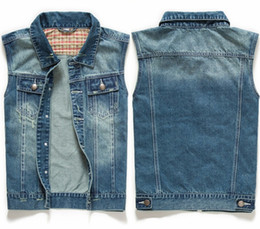Wholesale Mens Waistcoats Casual - Wholesale- Summer 2015 New Men's Jeans Jacket Vest Denim Blue Coats Men Casual Sleeveless Waistcoat Mens Down Vests Tank Tops Stylish MT126