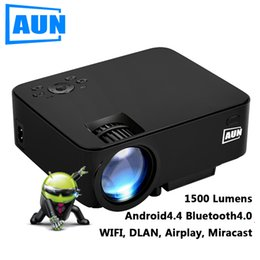 Wholesale Smart Beamer - Wholesale- AUN Projector 1500 Lumens Portable Mini LED LCD TV Projector android 4.4 Wifi Smart HD 1080P Home Theater Beamer Proyector