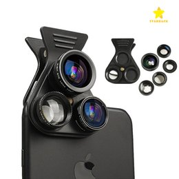 Wholesale Wide Macro Lens - Cell Phone Camera Lens Kit 5in1 Professional HD Camera Lens 2.5X Telephoto Len 180° Fisheye 0.62X Wide Angle 15X Macro Len