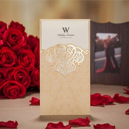 Wholesale Red Gold Invitations - Wholesale-(10 pieces lot) New Wedding Invitations Card Laser Cutting Sweet Chinese Red And Gold Wedding Card Invitations
