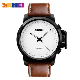 mens black large watch Coupons - Mens Famous SKMEI Quartz Watches Men IP Black Plating Large Dial 30M Waterproof Fashion Casual Gentleman Wristwatches Relogio Masculino