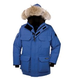 Wholesale Gray Hat Man - Outdoor Canada thickening warm large size loose fashion big goose down jacket hooded fur collar solid color jacket winter
