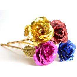 Wholesale Golden Roses Flowers - Wholesale-5PC lot 24k Gold Foil Plated Rose Wedding Party Propose Decoration Golden Rose Decor Flower flores artificiales para decoracion