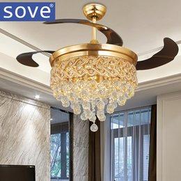 Versenkbare deckenleuchten online-SOVE Modern Luxury Folding Deckenventilator Kristall LED-Lampe Retractable Deckenventilatoren mit Licht-Fernbedienung Schlafzimmer 220 Volt Fan