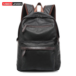 Wholesale Leather Travel Backpacks For Men - Wholesale- MAGIC UNION Oil Wax Leather Backpack Casual Bags & Travel Backpacks For Men Western College Style Leather School Backpack