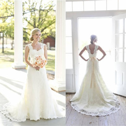 Wholesale Ivory Wedding Dresses Lace Beaded - 2017 Full A-Line Lace Wedding Dresses Ivory Sweetheart Neck Sleeveless with Beaded Satin Sash Open Back Court Train Vintage Bridal Gowns