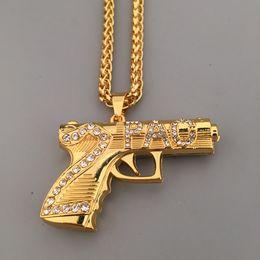 Wholesale Hiphop Diamond Jewelry - AGOOD 2017 hiphop gun 2PAC pistol gold Necklaces & Pendants unisex Jewelry women kolye statement necklace for men maxi collier