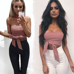 Wholesale Sexy Club Wear Tops - Summer 2017 Sexy Bra Bandage strapless tops Casual back zipper camisole Short tank women tops evening party club wear crop top bustier Tees