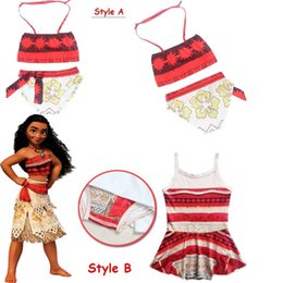 Wholesale Kids Swim Tutu - Summer Baby girls Moana Bikini Swimsuit Beachwear Girls Swimmable Bodysuit Swimsuit Dress tutu Kids Swim wear 3-9 Years