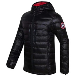 Wholesale Winter Mens Red Coats - High Quality CANADA New Winter Men's Down puffer jacket Casual Brand Hoodies Down Parkas Warm Ski Mens Coats Black Red 200
