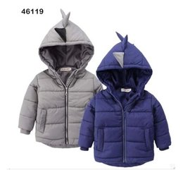 Wholesale New Cheap Baby Boy Clothes - 2016 boy fashion jacket new cheap baby winter clothes 2-7 years cartoon dinosaur hat kids warm jacket free shipping A45