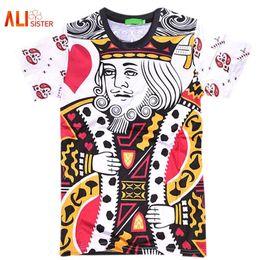 Vestiti di uomini di grandezza re online-Summer Style Hip Hop T Shirt Uomo / donna Carte da gioco Stampa 3d T Shirt Harajuku Abbigliamento Camisa Masculina Taglia King Poker Shirt 17310