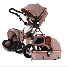 Wholesale Umbrellas Strollers - Aluminum Alloy Frame Khaki Can Sit And Lie Baby Stroller With Three In One Function Cradle Plum Car Safety Seat And Fixed Armrests