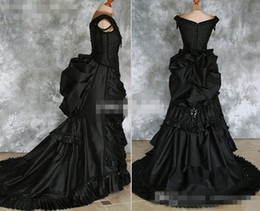 Wholesale Crystal Gothic - Black Gothic Wedding Dresses Off Shoulder Ruffles Crystals Satin Chapel Train 2016 Costume Dress Lace Victorian Bridal Gowns Custom Made