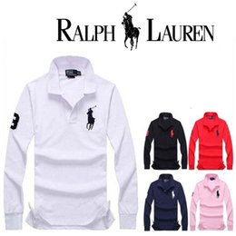 Wholesale Polo Down - Autumn Winter New Long Sleeve Polo Shirt Brand-clothing Fashion Men's Big Horse Embroidery lapel Youth Solid Polos Casual Tops High Quality
