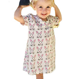 Wholesale Dresses America - Girls dresses Bunny Full prints Lovely Summer dress Cute 2017 1T 2T 3T 4T 5T New arrival European and America style