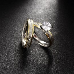 Wholesale Gold Double Rings - Women Jewelry Titanium Steel Double Ring Zircon Stone Female Wedding Rings with Box Party Engagement Accessories wholesale RG-149