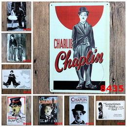 Wholesale Metal Star China - Chaplin 20*30CM Metal Tin Sign Europe And The United States Star Tin Poster Antique Iron Painting Modern Minimalist Bar Store 4rjD