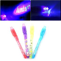 Wholesale invisible pen light - Wholesale-1PCS Magic 2 in 1 UV Black Light Combo Creative Stationery Invisible Ink Pen Popular Random Color