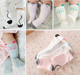 Wholesale Kids Rubber Socks - Toddler Knee High Socks for Newborns Baby Boys Girls Anti-Slip Kids Long Sock with Rubber Dots Soles Animal Cartoon Mickey Cat