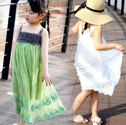 Wholesale Dress Tulle Pinafore - Newest INS girls crochet lace party dresses girls lace tulle beach dress Children girls Embroidery pinafore long Tutu dress princess dress