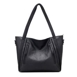 Wholesale Knitting Bag Shop - large capacity tote bag black color fashion designer pu leather shoulder bag shopping bag knitting women handbag
