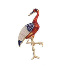 Wholesale Crane Wedding - High Quality Red-crowned Crane Pins Brooches For Women Enamel Animal Brooch Pin Alloy Gold Color Insect Jewelry Broches Broache