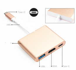 """Wholesale Digital Universal Charger - USB 3.1 Type C to HDMI Digital AV + USB 2.0+ Type C Female Multiport Charger Adapter for Macbook 12"""" smart phone 1pc lot"""