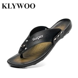 Wholesale Red Slippers Open Toe - Wholesale-New Fashion Flip Flops Men Sandals Leather Open Toe Beach Slippers For Men Summer Shoes Men Clogs Mens Causal Breathable Black