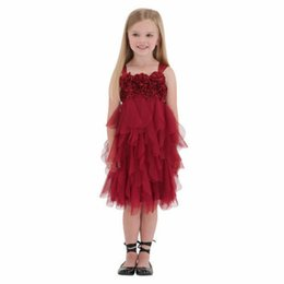 Wholesale Christmas Holiday Images - 2017 Red Tulle Flower Girl Dresses Spaghetti Knee Length Party Wedding Gowns Custom Made Girls Holiday Dresses Sleeveless Kids Formal Wear