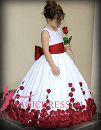 Wholesale Ivory First Communion Satin - 2016 Crew Neck Ball Gown Floor Length Flower Girls' Dresses Wine Red and White Little Girls' Pageant Gowns First Communion Dresses Cute