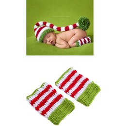 Wholesale Fast Crochet - Newborn Cap Clothes Crochet Bonnet Beanie Chritmas Hat With Legging Foot Cover Baby Kid Clothes Toddler Birthday Photography Props DHL FAST