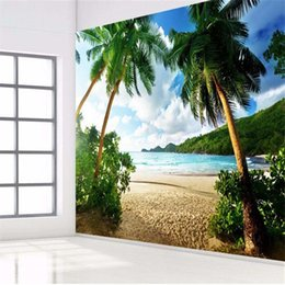 Wholesale Quality Wallpapers - Wholesale- photo wallpaper High quality 3d wall paper Sea palm beach island Travel TV sofa backdrop bedroom large wall mural wallpaper