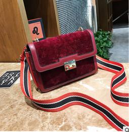 Wholesale Womens Stripes Bag - Big girls pleuche bag children stripe wide shoulder one shoulder bag kids velvet metal lock cross-body womens mini velvet handbag R0550