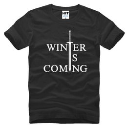 Wholesale Games Designers - New Designer Winter Is Coming Printed T Shirts Men Fashion Cotton Short Sleeve O-neck Male Tee Shirt Game Of Thrones T-Shirt